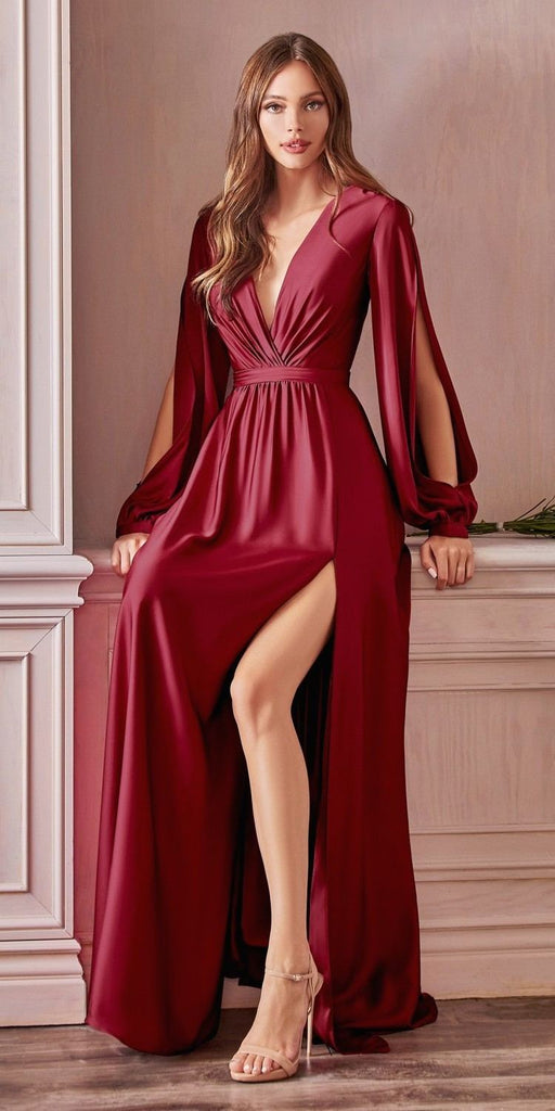 Cinderella Divine 7475 Long Split Blouson Sleeve Burgundy Formal Dress Thigh Split