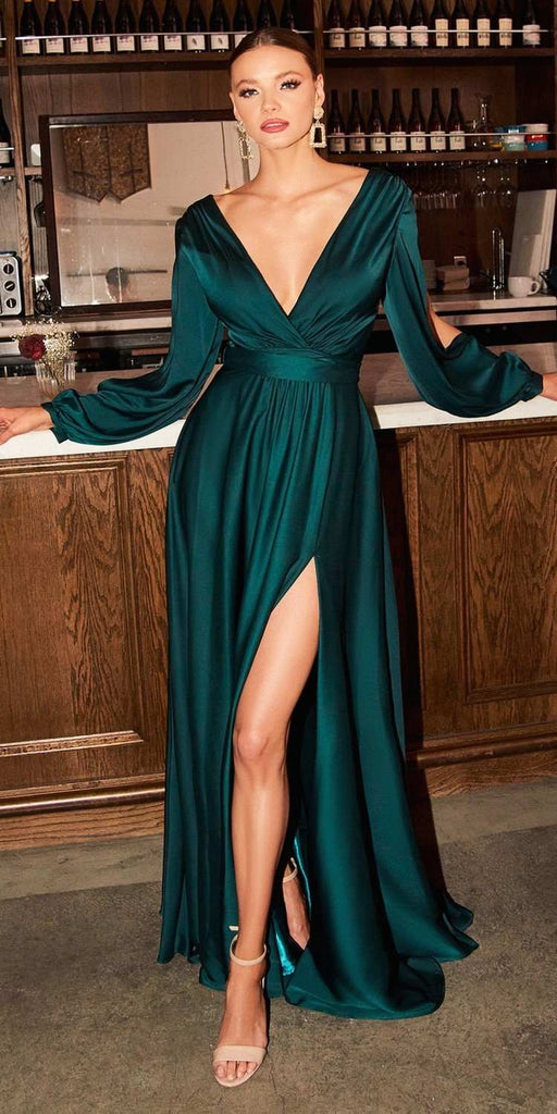 Cinderella Divine 7475 Long Split Blouson Sleeve Emerald Formal Dress Thigh Split
