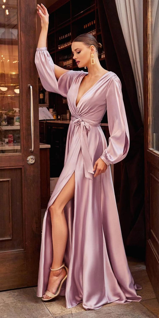 Cinderella Divine 7475 Long Split Blouson Sleeve Mauve Formal Dress Thigh Split
