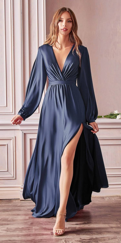 Cinderella Divine 7475 Long Split Blouson Sleeve Navy Blue Formal Dress Thigh Split