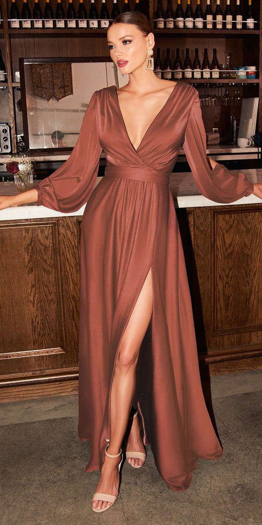 Cinderella Divine 7475 Long Split Blouson Sleeve Sienna Formal Dress Thigh Split