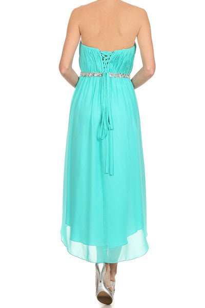 Asymmetrical Strapless Ruched Bodice Jade Homecoming Dress Back