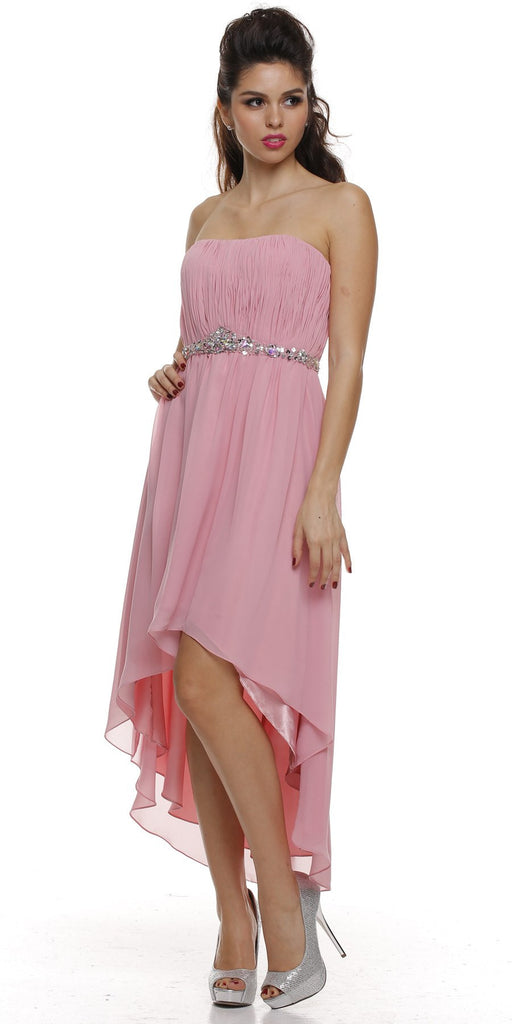 Asymmetrical Strapless Ruched Bodice Rose Homecoming Dress