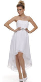Asymmetrical Strapless Ruched Bodice White Homecoming Dress