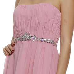 Asymmetrical Strapless Ruched Bodice Rose Homecoming Dress Zoom