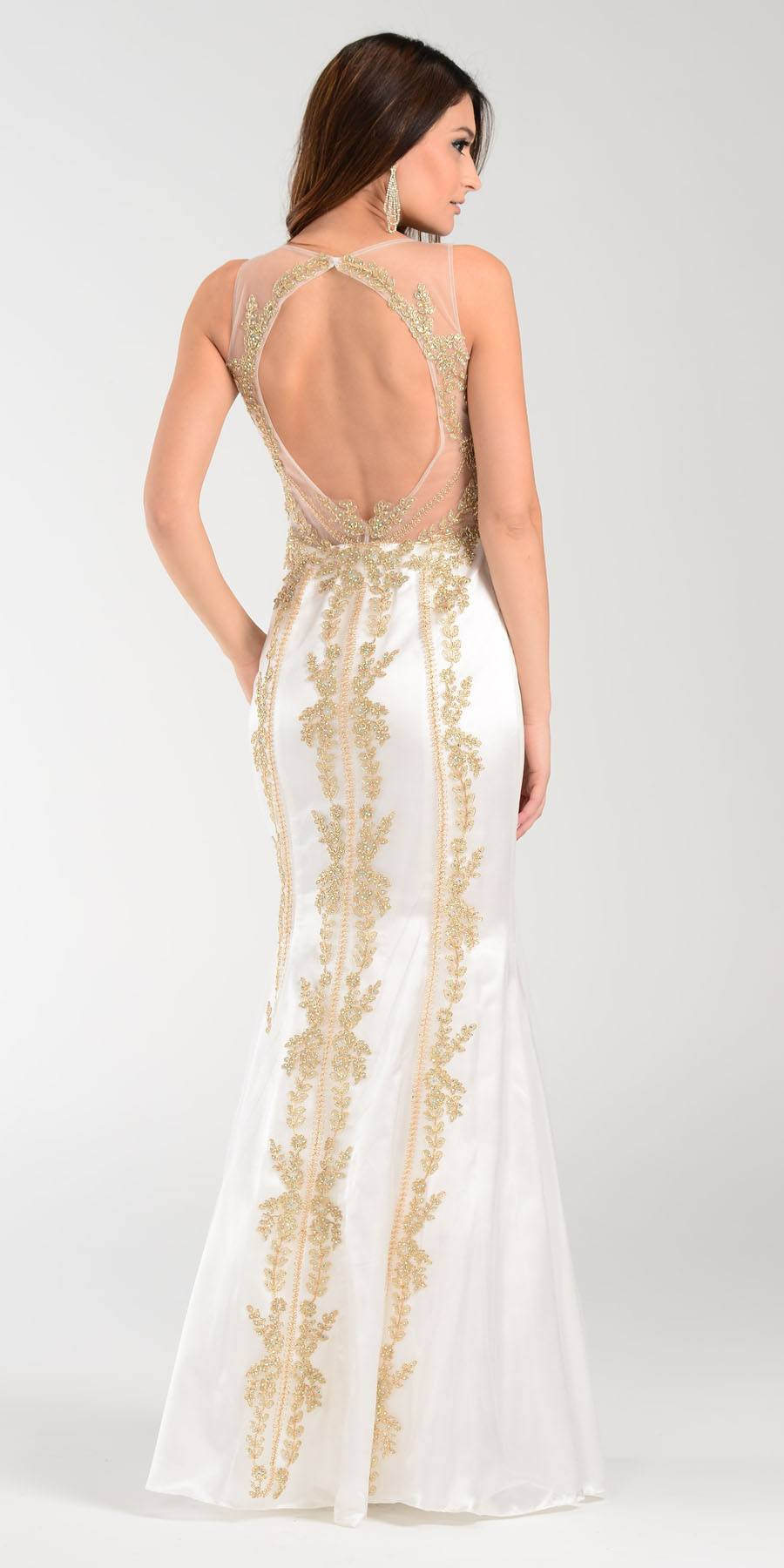 Poly USA 7480 Lace Appliques Rhinestones Prom Dress Off White Gold ...