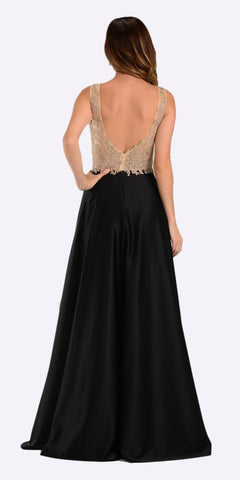 Poly USA 7494 Long Satin A Line Prom Gown Black Lace Applique Back View