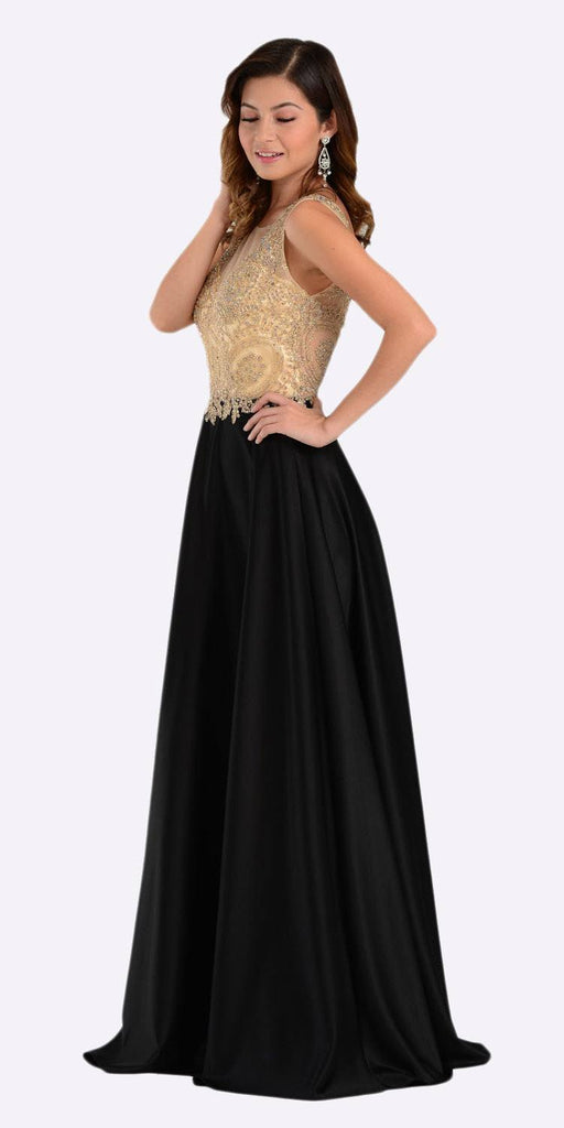 Poly USA 7494 Long Satin A Line Prom Gown Black Lace Applique Side View