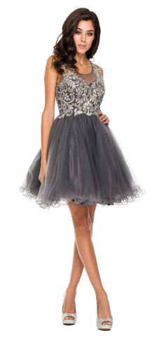 Poofy A Line Charcoal Short Homecoming Dress Tulle Embroidery