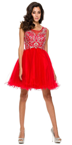 Poofy A Line Red Short Homecoming Dress Tulle Embroidery