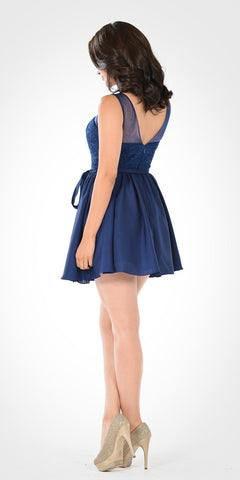 Illusion Lace Bodice Sleeveless Homecoming Short Dress Navy Blue - DiscountDressShop