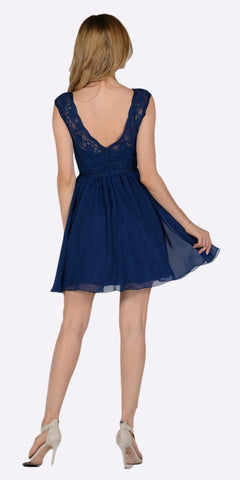 Poly USA 7502 Sleeveless Lace Bodice Scoop Neck Navy Blue Cocktail Dress Short Back View