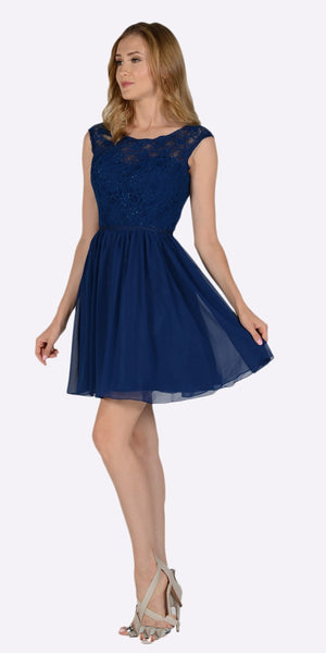 Poly USA 7502 Sleeveless Lace Bodice Scoop Neck Navy Blue Cocktail Dress Short