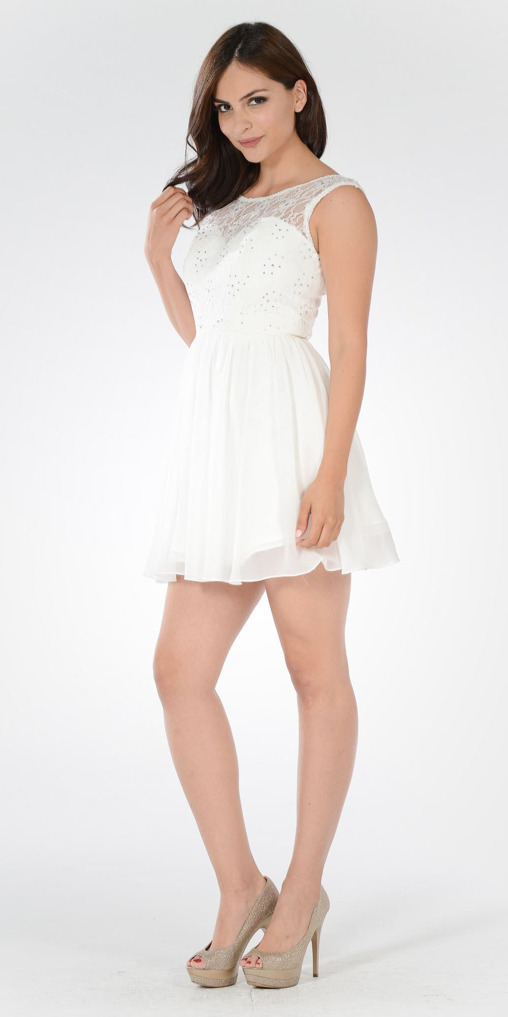 Sleeveless Lace Bodice Scoop Neck Off White Cocktail Dress Short