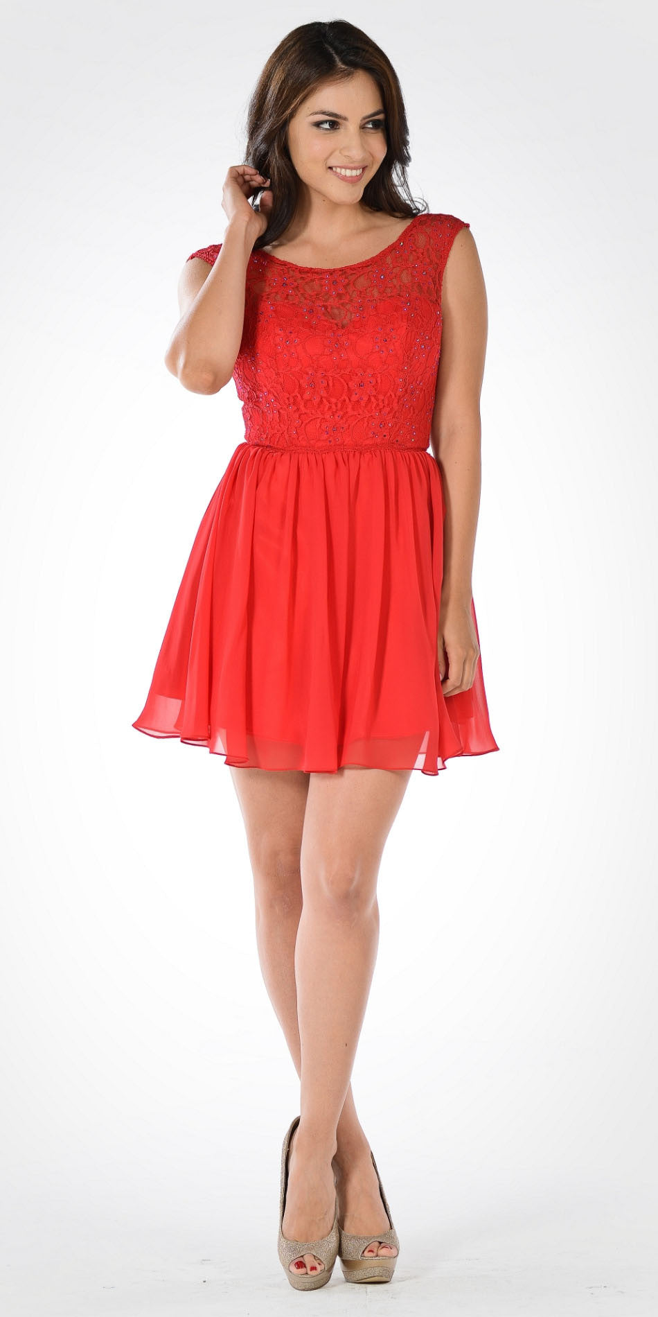 Sleeveless Lace Bodice Scoop Neck Red Cocktail Dress Short