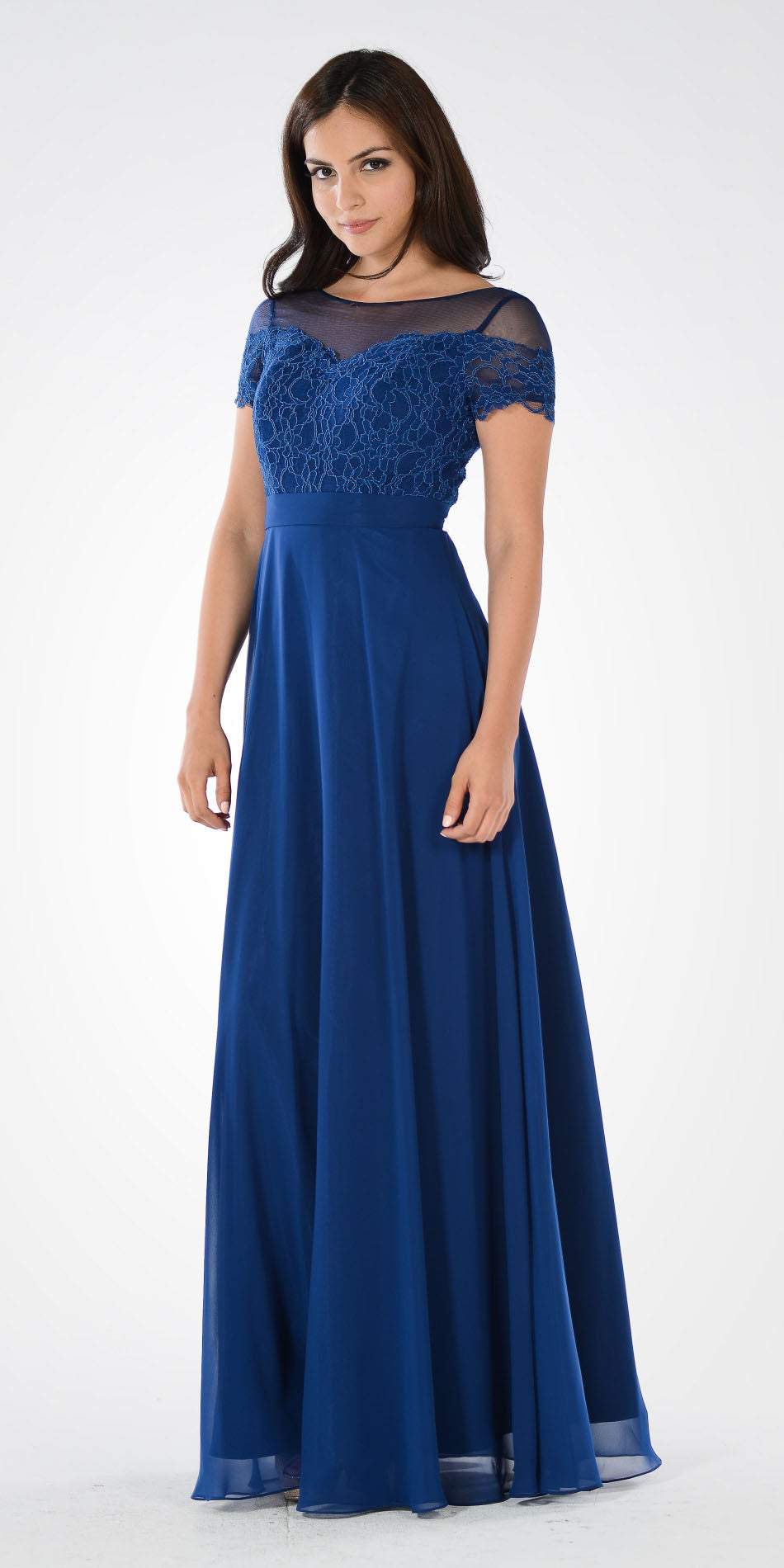 Navy Blue Short Sleeves Illusion Lace Bodice A-line Long Formal Dress
