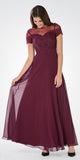Plum Short Sleeves Illusion Lace Bodice A-line Long Formal Dress - DiscountDressShop