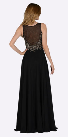 Poly USA 7508 Black Sleeveless Sheer Embellished Bodice Long Prom Dress Back View