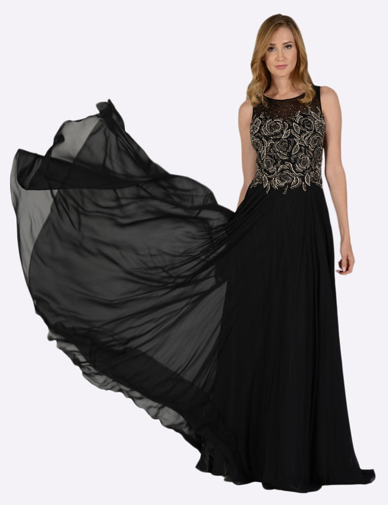 Poly USA 7508 Black Sleeveless Sheer Embellished Bodice Long Prom Dress Full View