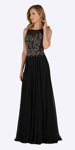 Poly USA 7508 Black Sleeveless Sheer Embellished Bodice Long Prom Dress