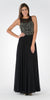 Black Sleeveless Sheer Embellished Bodice Long Prom Dress