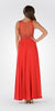 Red Sleeveless Sheer Embellished Bodice Long Prom Dress