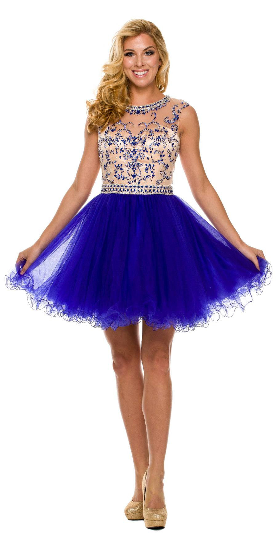 Short Ball Gown Blue Ballerina Tulle A Line Cap Sleeve ...