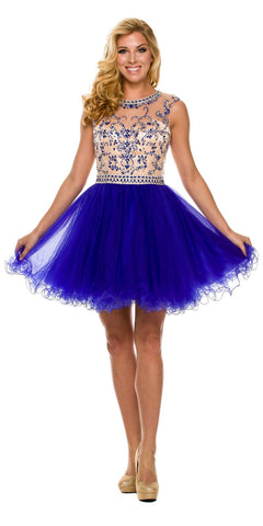 Short Ball Gown Blue Ballerina Tulle A Line Cap Sleeve
