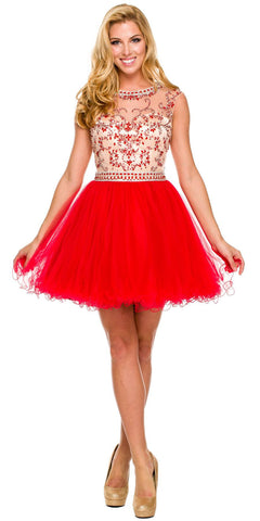 Short Ball Gown Red Ballerina Tulle A Line Cap Sleeve