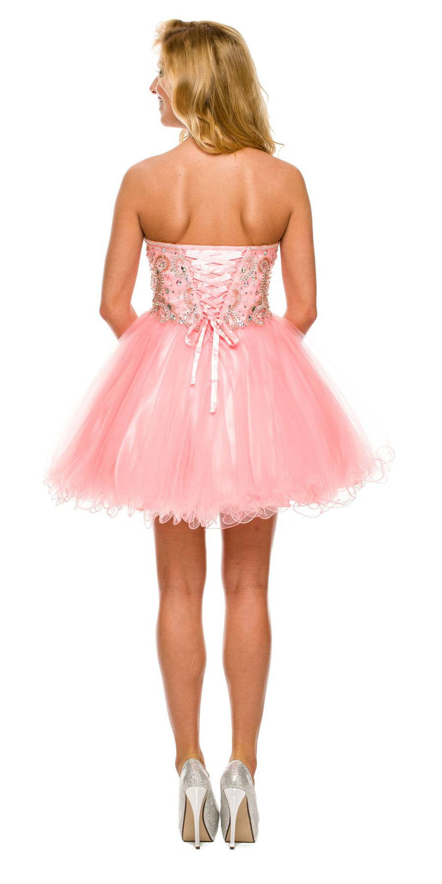 Short A Line Poofy Ball Gown Blush Tulle Skirt Strapless Beads Back