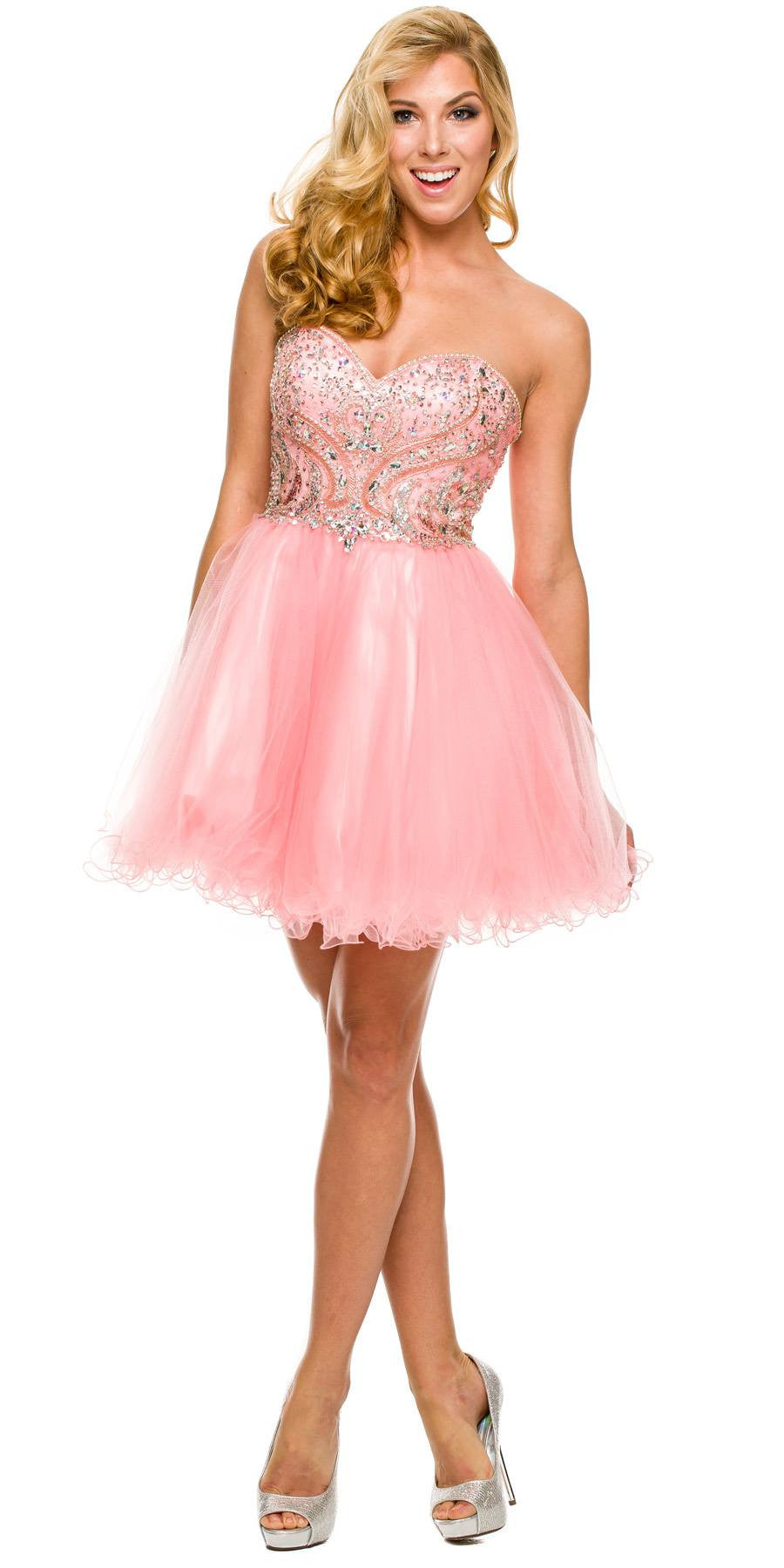Short A Line Poofy Ball Gown Blush Tulle Skirt Strapless Beads