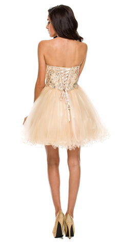 Short A Line Poofy Ball Gown Champagne Tulle Skirt Strapless Beads Back