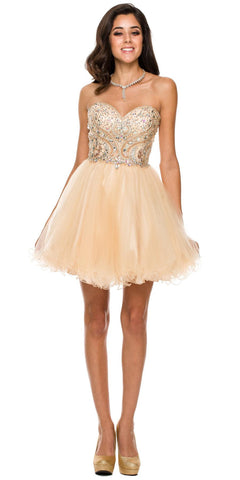Short A Line Poofy Ball Gown Champagne Tulle Skirt Strapless Beads