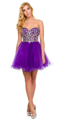 Short A Line Poofy Ball Gown Purple Tulle Skirt Strapless Beads