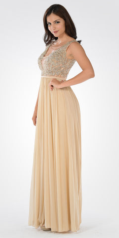 Lace Bead Appliqued Bodice Floor Length Formal Dress V-Neck Beige