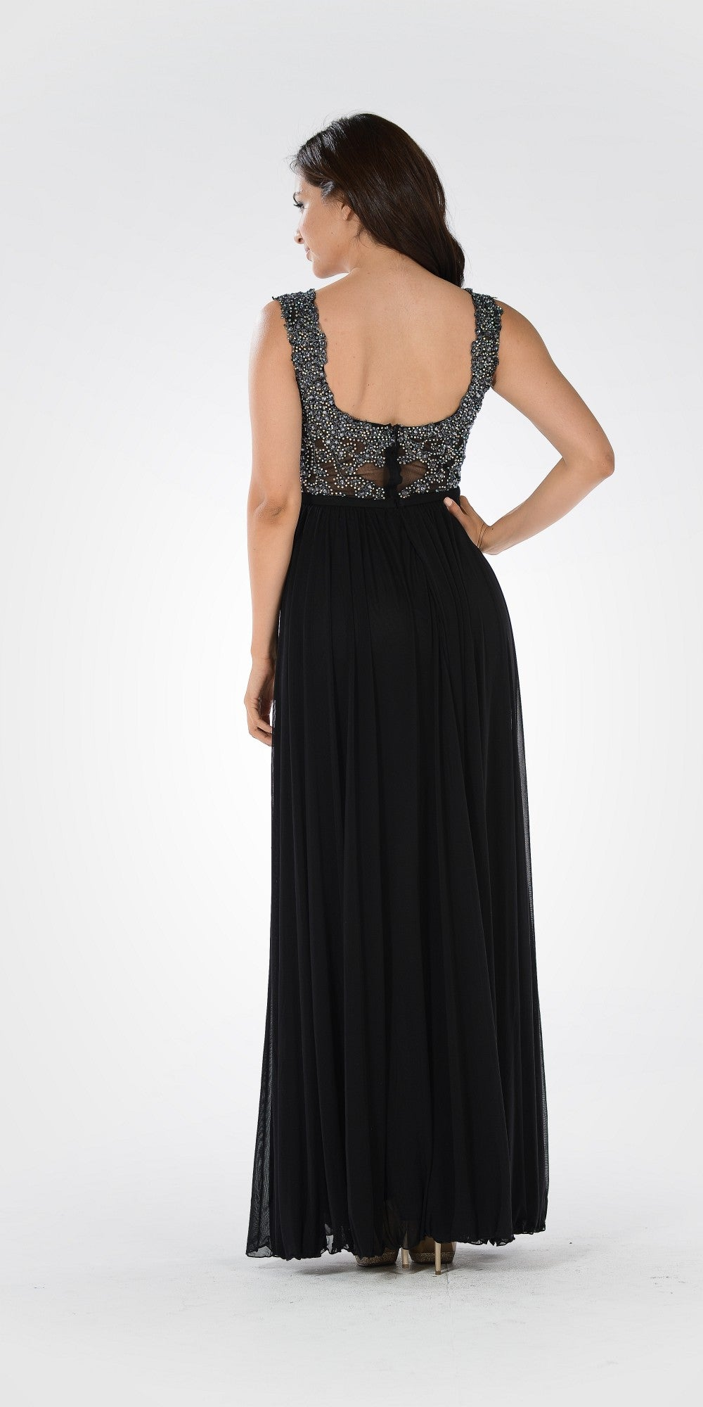 Lace Bead Appliqued Bodice Floor Length Formal Dress V-Neck Black