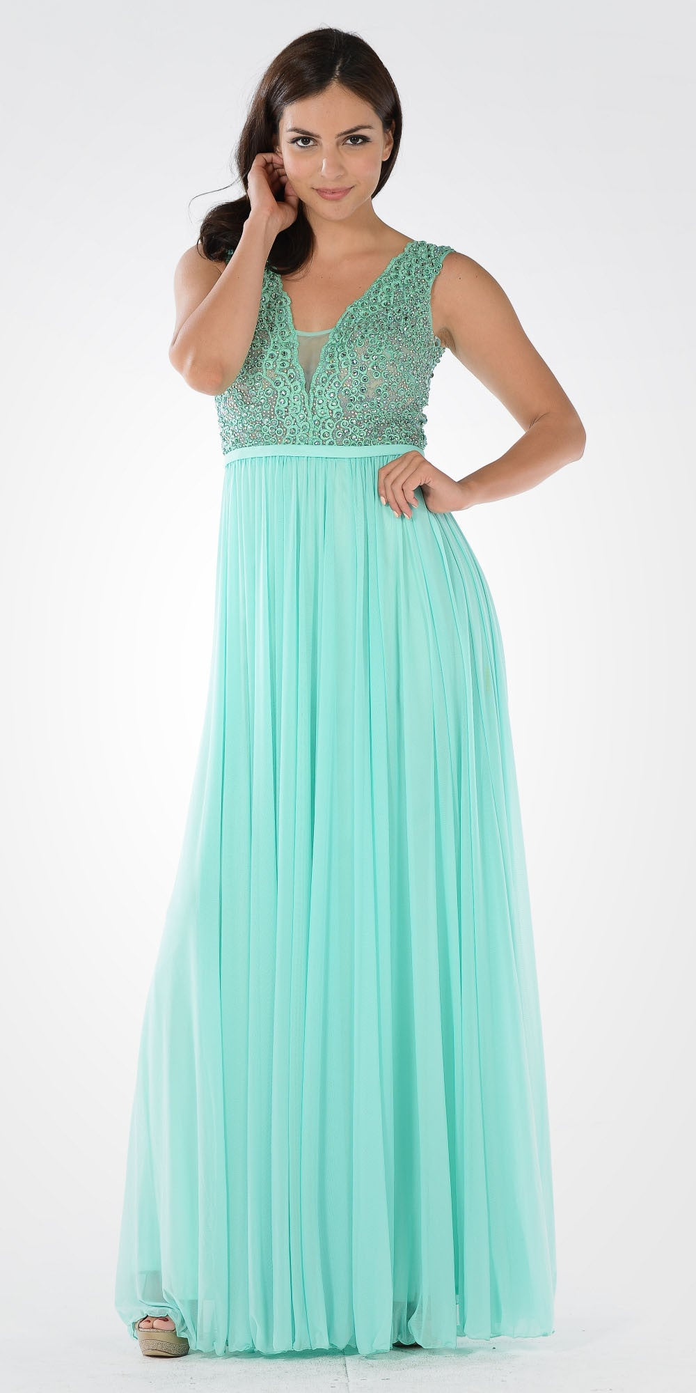 Lace Bead Appliqued Bodice Floor Length Formal Dress V-Neck Mint
