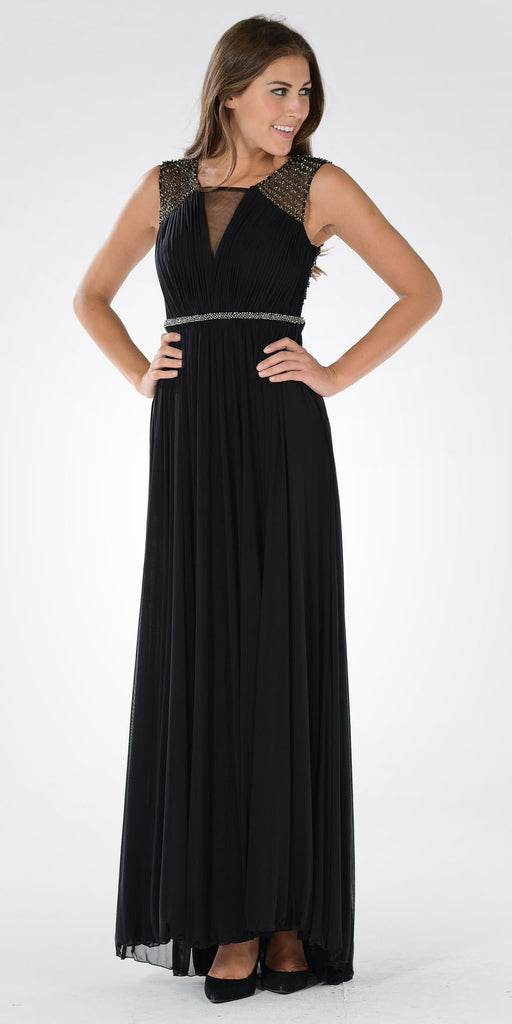 Black A-line Sheer Beaded Back Floor Length Prom Dress Sleeveless