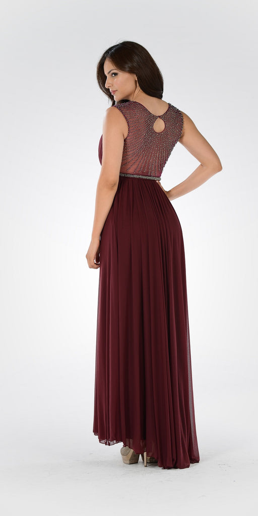 Plum A-line Sheer Beaded Back Floor Length Prom Dress Sleeveless