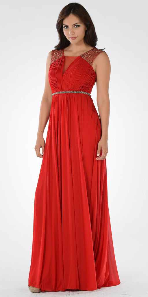Red A-line Sheer Beaded Back Floor Length Prom Dress Sleeveless