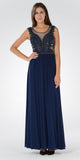 Illusion Scoop Neck Sheer Beaded Bodice Prom Dress Navy Blue Long