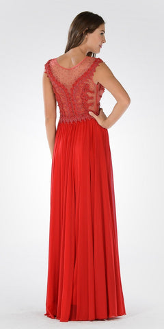 Illusion Scoop Neck Sheer Beaded Bodice Prom Dress Red Long