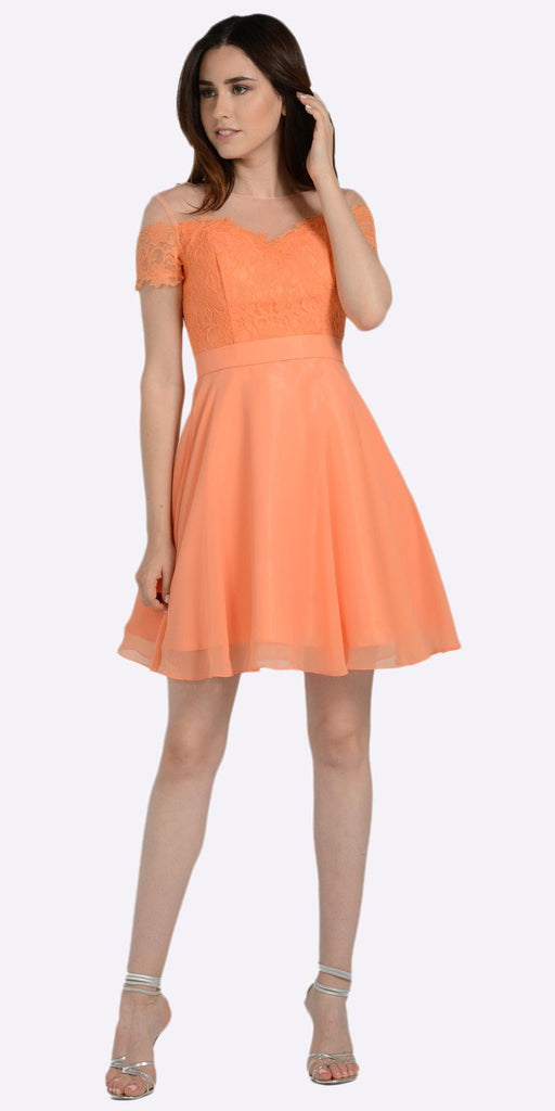 Poly USA 7518 Salmon Illusion Lace Bodice Short Sleeves Homecoming Party Dress