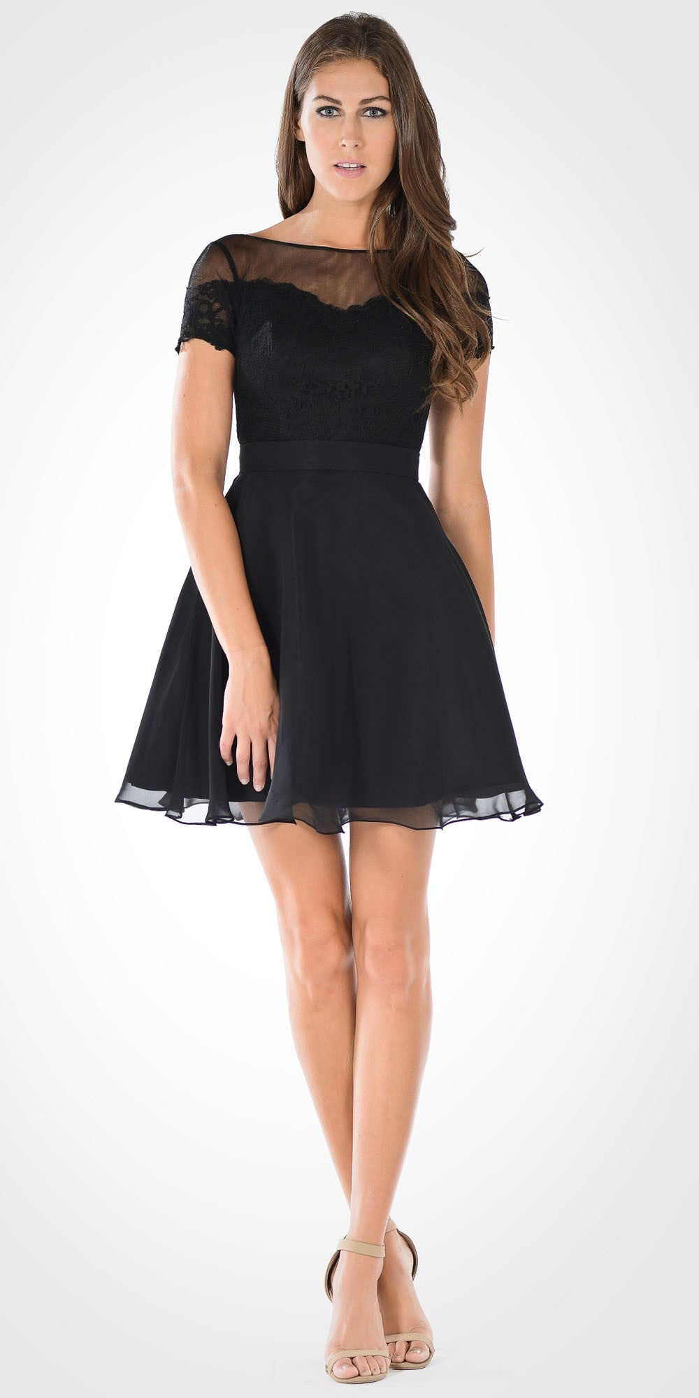 Black Illusion Lace Bodice Short Sleeves Homecoming Party Dress