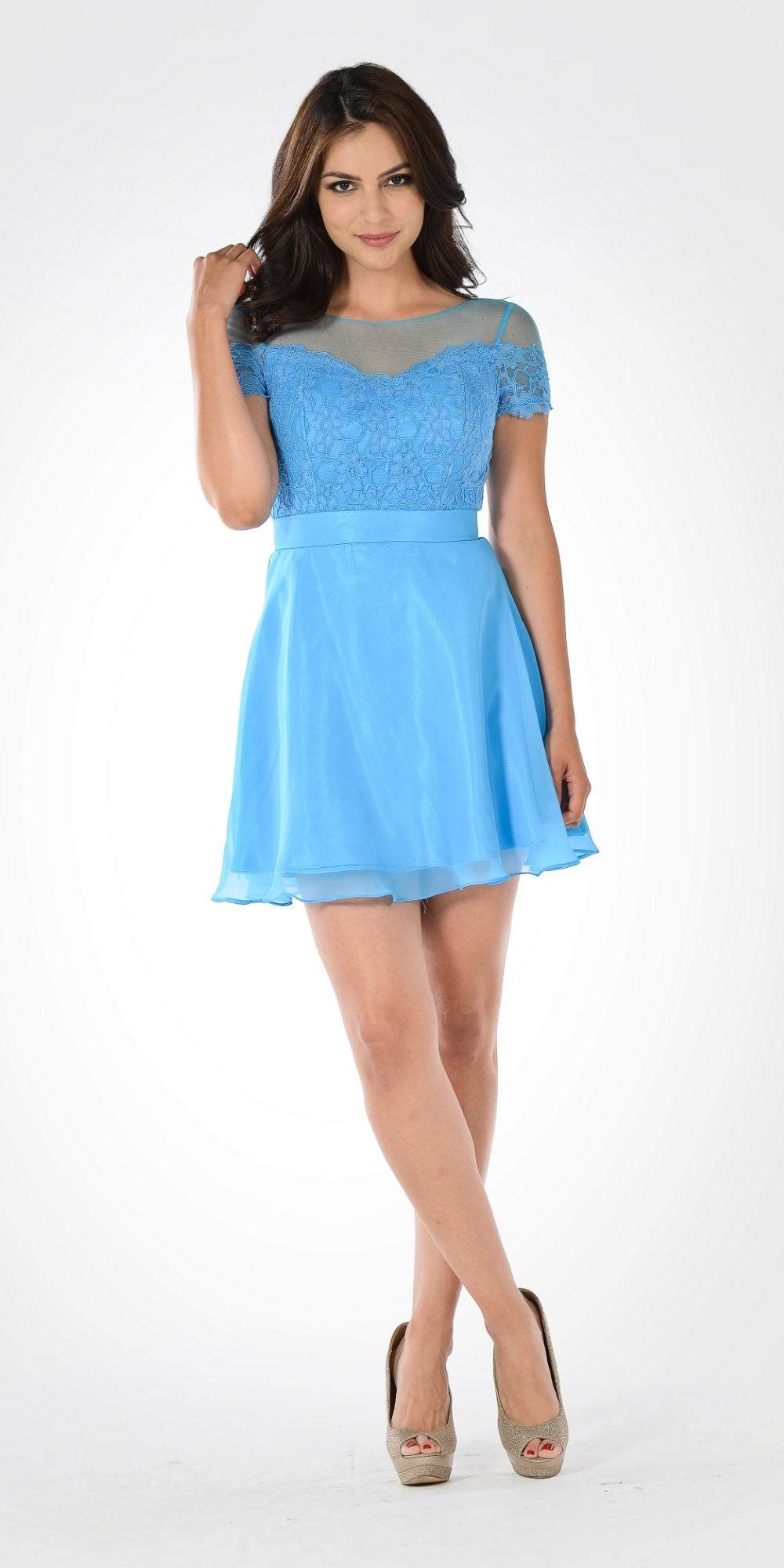 Blue Illusion Lace Bodice Short Sleeves Homecoming Party Dress