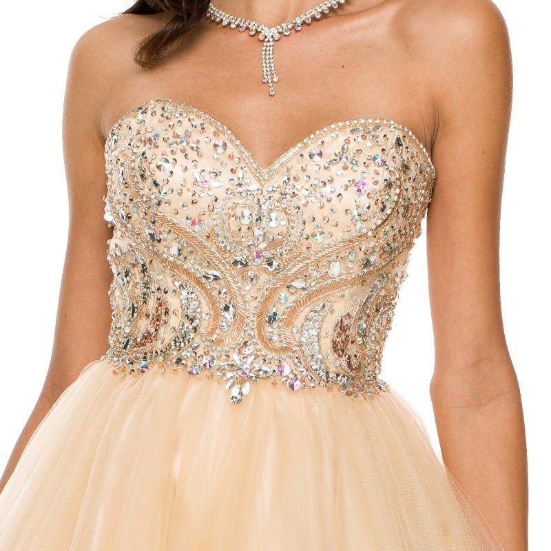 Short A Line Poofy Ball Gown Champagne Tulle Skirt Strapless Beads Zoom