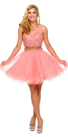 Short 2 Piece Prom Gown Coral Tulle Poofy High Neck Keyhole Back