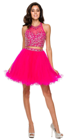 Short 2 Piece Prom Gown Fuchsia Tulle Poofy High Neck Keyhole Back