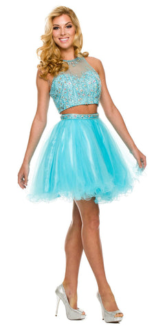 Short 2 Piece Prom Gown Turquoise Tulle Poofy High Neck Keyhole Back