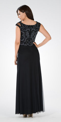 Black Beaded Bodice Fit and Flare Mother of the Bride Dress Long - DiscountDressShop